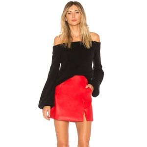 Red Leather Skirt NWOT